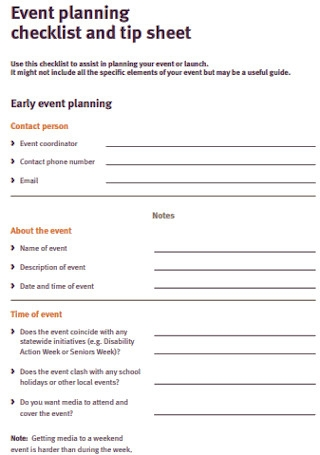 Event Planning Checklist and Tip Sheet