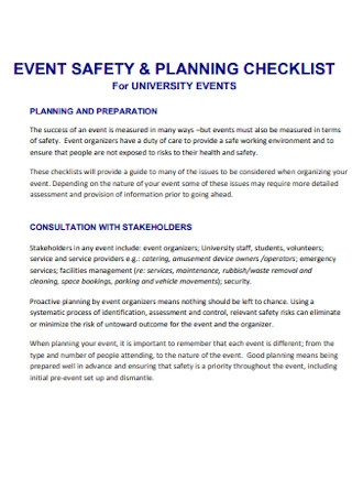 Event Safety and Planning Checklist