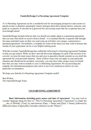 Family By Design Co Parenting Agreement Template