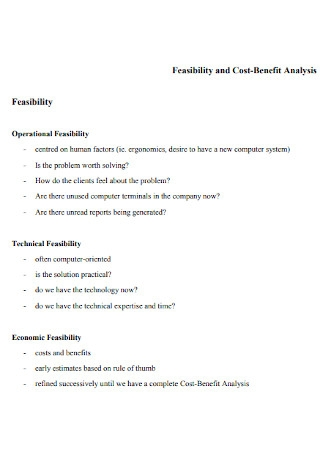 Feasibility and Cost Benefit Analysis