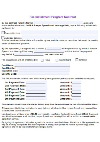 Fee Installment Program Contract