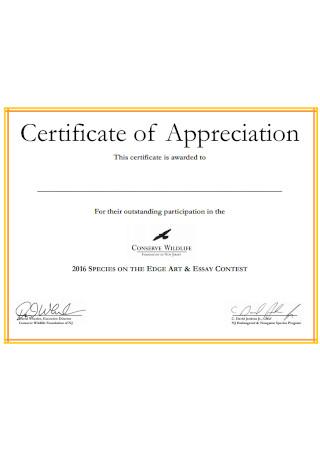 Formal Certificate of Appreciation