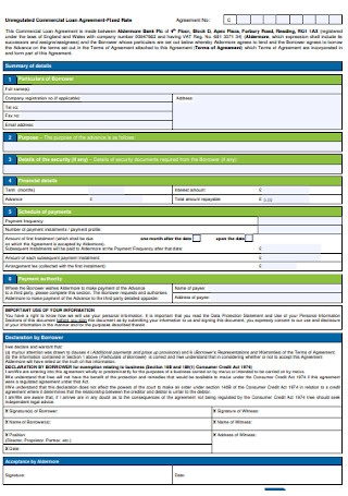 Formal Commercial Loan Agreement Template