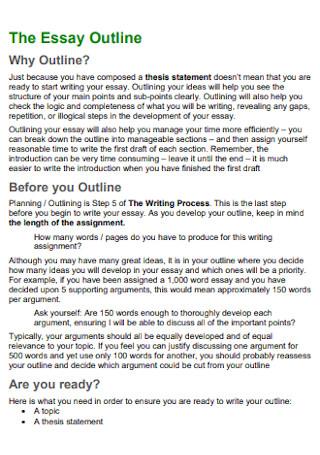 Formal Essay Outline Template