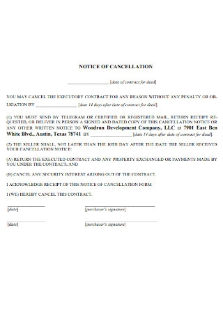 Formal Notice of Cancellation Template