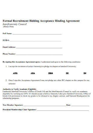 Formal Recruitment Bidding Acceptance Binding Agreement