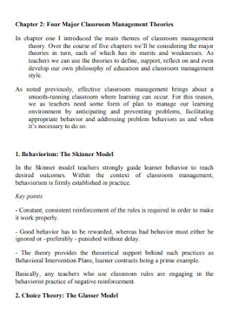 Four Major Classroom Management Theories Philosophy
