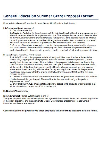 General Education Summer Grant Proposal Format