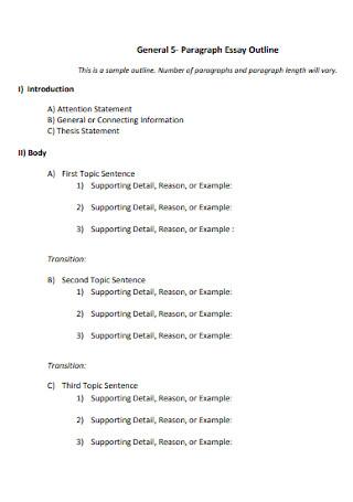 General Paragraph Essay Outline
