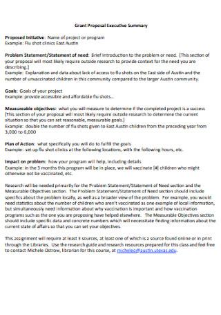 Grant Proposal Executive Summary Template