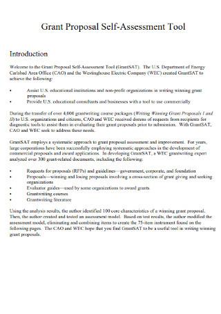 Grant Proposal Self Assessment Template
