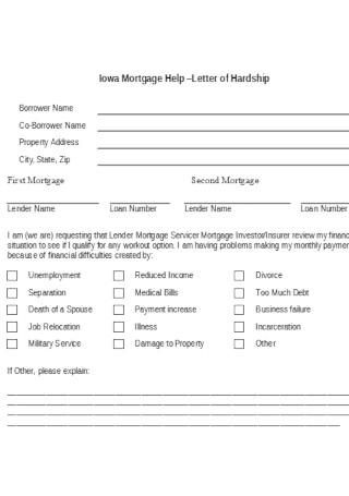 Hardship Mortgage Help Letter Template