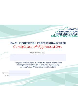 Health Certificate of Appreciation Template