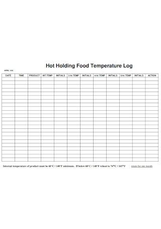 Hot Holding Food Temperature Log