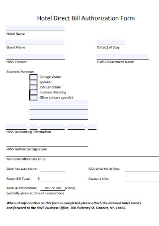 Hotel Direct Bill Authorization Form