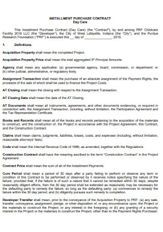 Installment Purchase Contract Template