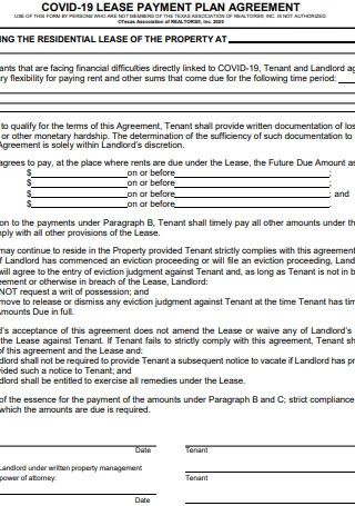 Lease Payment Plan Agreement