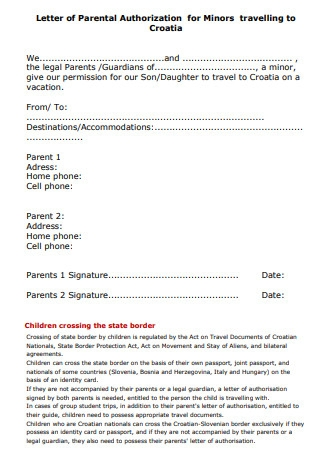 Letter of Parental Authorization for Minors Travelling