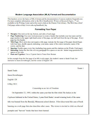 MLA Format and Documentation Template