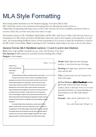 MLA Style Formatting Template