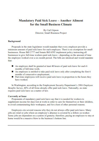 Mandatory Leave for Small Business Template