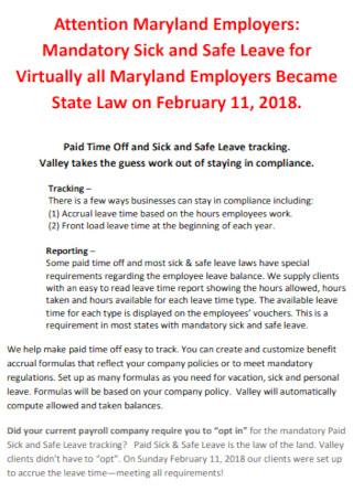 Mandatory Sick and Safe Leave