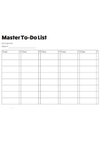 Master To Do List Template