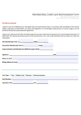 Membership Credit Card Authorization Form