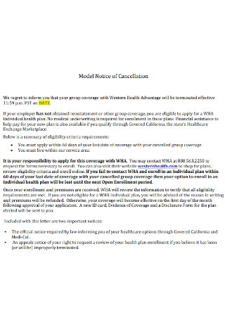 Model Notice of Cancellation