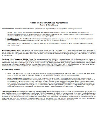 Motor Vehicle Purchase Agreement