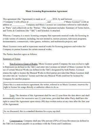 Music Licensing Representation Management Agreement