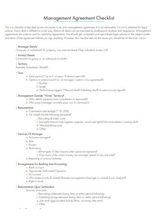 Music Management Agreement Checklist