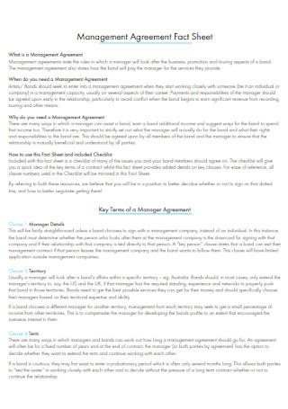 Music Management Agreement Fact Sheet