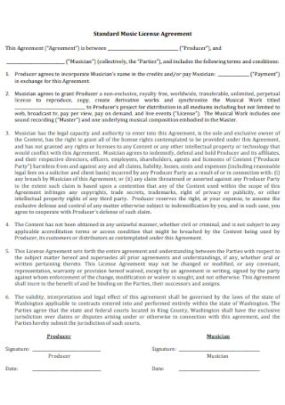 Music Management License Agreement