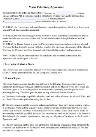 Music Publishing Management Agreement