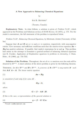 New Approach to Balancing Chemical Equations