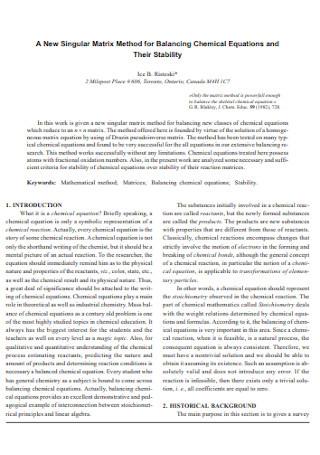 New Singular Matrix Method for Balancing Chemical Equations