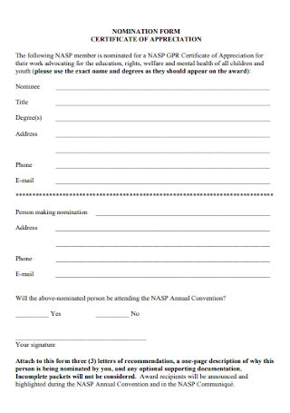 Nomination Form for Certificate of Appreciation