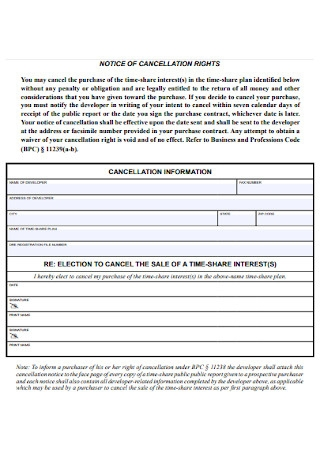 Notice of Cancellation Rights Template