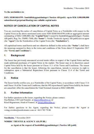 Notice of Cancellation of Capital Notes Template
