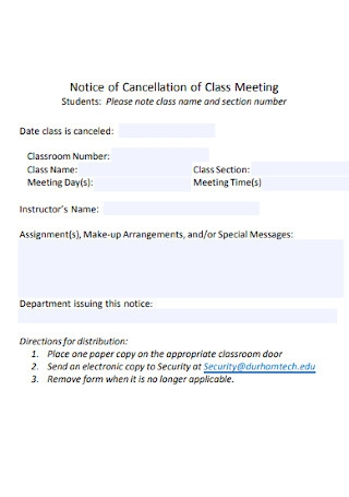 Notice of Cancellation of Class Meeting Template