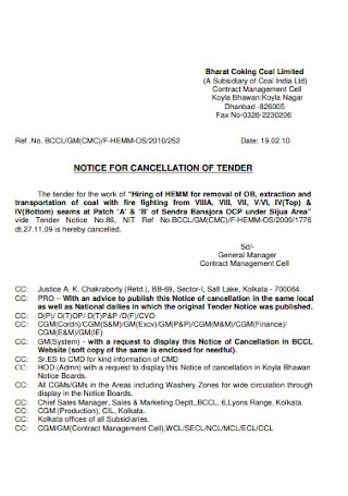 Notice of Cancellation of Tender Template