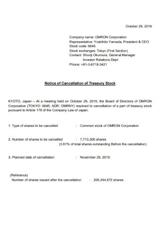 Notice of Cancellation of Treasury Stock
