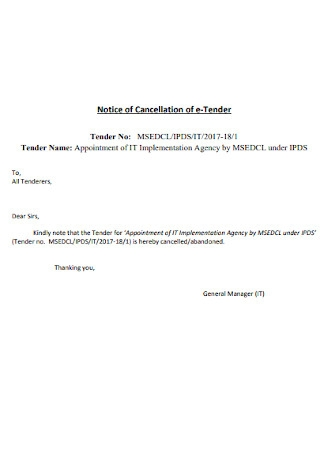 Notice of Cancellation of e Tender Template