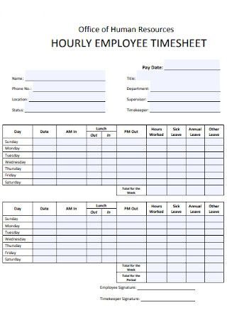 Office of HR Hourly Employee Timesheet