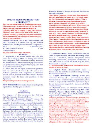 Online Music Distribution management Agreement