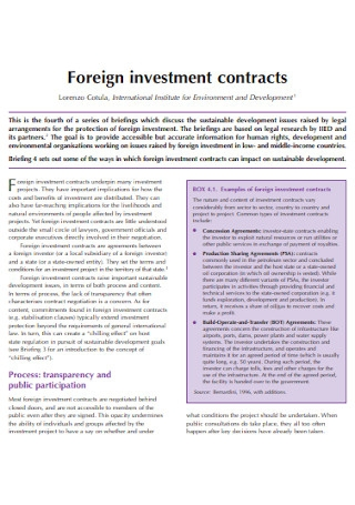 Ownership IInvestment Contracts