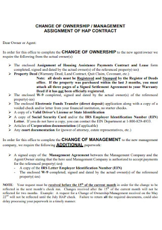 Ownership Management Contract Template