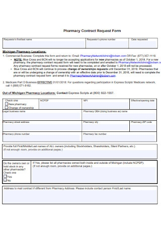 Ownership Pharmacy Contract Request Form