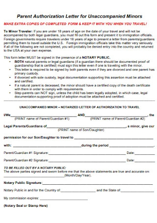 Parent Authorization Letter for Unaccompanied Minors